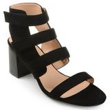 Brinley Co. Womens Pavo Caged Faux Suede Cut-out Heel Strappy Sandals