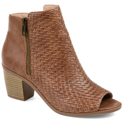 Brinley Co. Womens Comfort Woven Detail Peep Toe Bootie