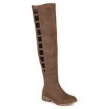 Brinley Co. Womens Wide Calf Faux Suede Over-the-knee Cut-out Boots