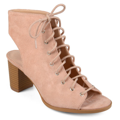 Brinley Co. Womens Faux Suede Lace-up High Heel Booties