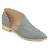 Brinley Co. Womens Queeny Faux Leather Almond Toe D'orsay Flats