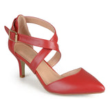 Brinley Co. Womens Matte Pointed Toe Ankle Strap D'Orsay Pumps