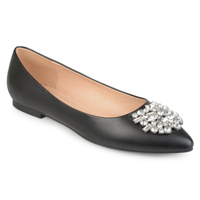 Brinley Co. Womens Faux Leather Pointed Toe Jewel Flats