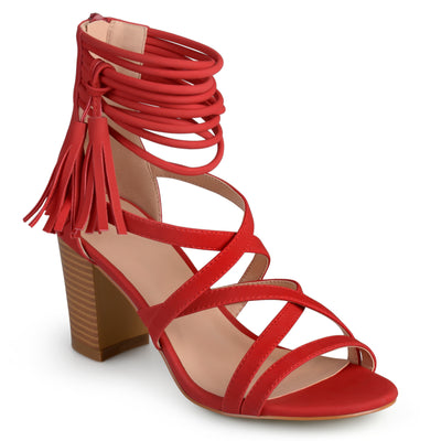 Brinley Co. Womens Tassel Strappy High Heels
