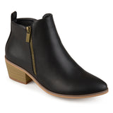 Brinley Co. Womens Faux Leather Stacked Heel Side Zip Booties