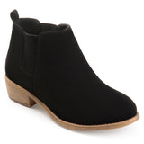 Brinley Co. Womens Stacked Heel Faux Suede Ankle Boots