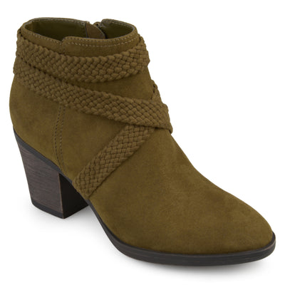 Brinley Co. Womens Sadie Faux Suede Almond-toe Crisscross Strap Booties