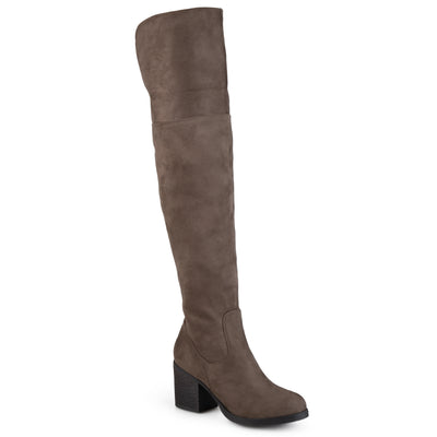 Brinley Co. Womens Round Toe Faux Suede Tall Boots