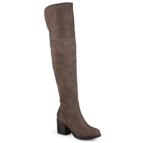Brinley Co. Womens Round Toe Faux Suede Tall Wide Calf Boots