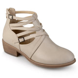 Brinley Co. Womens Faux Leather Strappy Buckle Booties