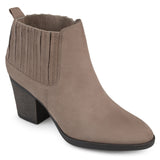 Brinley Co. Womens Silvia Faux Suede Block Heel Almond Toe Chelsea Booties