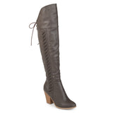 Brinley Co. Womens Siro Wide Calf Distressed Faux Leather Faux Lace-up Over-the-knee Boots