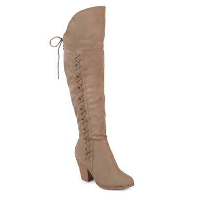 Brinley Co. Womens Siro Faux Suede Faux Lace-up Over-the-knee Boots