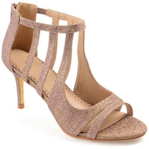 Brinley Co. Womens Sofia Glitter Open-toe Cut-out Caged Heels