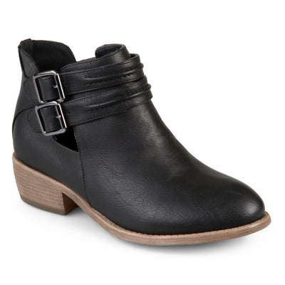 Brinley Co. Womens Faux Leather Side Split Buckle Booties