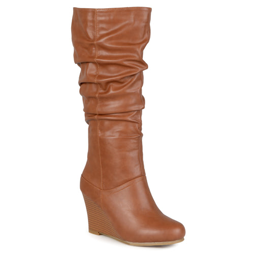 Brinley Co. Womens Regular and Wide-Calf Knee-High Wedge Slouch Dress Boot