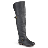 Brinley Co. Womens Wide Calf Over-the-knee Inside Pocket Buckle Studded Boots