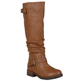 Brinley Co. Womens Extra Wide-Calf Buckle Knee-High Riding Boot