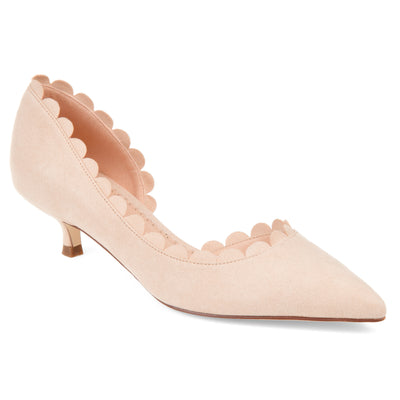Brinley Co. Womens Scalloped Pointed Toe Pump