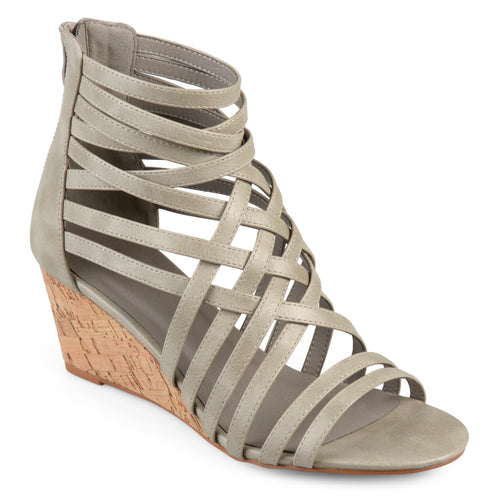 Brinley Co. Womens Faux Leather Strappy Wedges