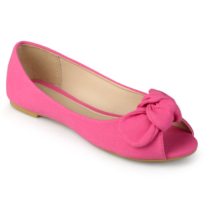 Brinley Kids Little Girl Knot Bow Peep Toe Canvas Flats