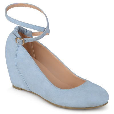 Brinley Co. Womens Ankle Strap Faux Suede Covered Wedges