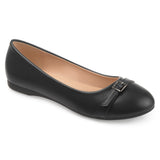 Brinley Co. Womens Tessie Faux Leather Buckle Detail Comfort-sole Flats