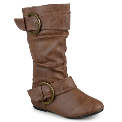 Brinley Kids Faux Leather Buckle Boots
