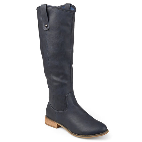 Brinley Co. Womens Wide Calf Faux Leather Mid-calf Round Toe Boots