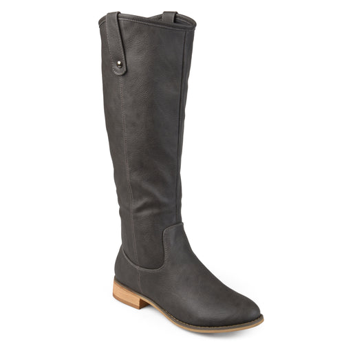Brinley Co. Womens Faux Leather Mid-calf Round Toe Boots