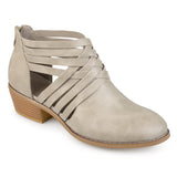 Brinley Co. Womens Criss Cross Stacked Wood Heel Faux Leather Booties