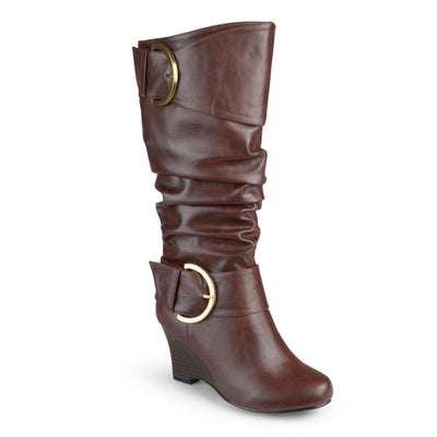 Brinley Co. Womens Extra Wide Calf Buckle Tall Faux Leather Boots