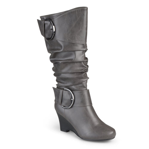Brinley Co. Womens Wide Calf Buckle Tall Faux Leather Boots