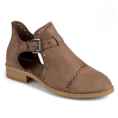 Brinley Co. Womens Laser Cut Faux Suede Buckle Booties