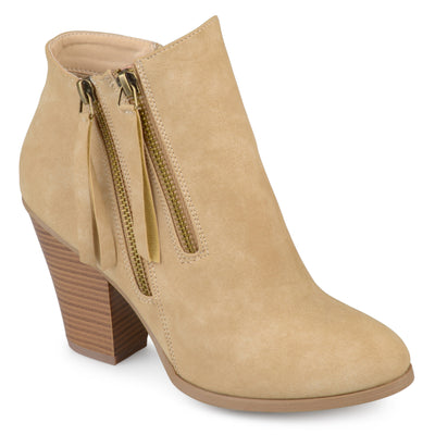 Brinley Co. Womens Faux Suede Stacked Wood Heel Double Zipper Booties