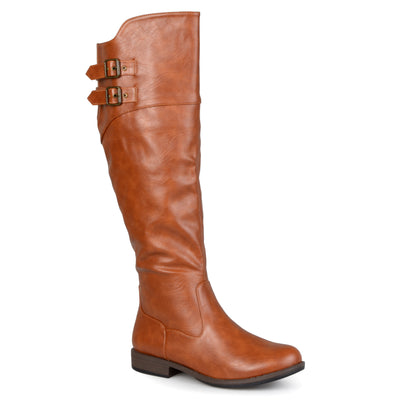 Brinley Co. Womens Extra Wide Calf Double-Buckle Knee-High Riding Boot