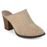 Brinley Co. Womens Slide-on Wood Stacked Heel Laser Cut Faux Suede Mules