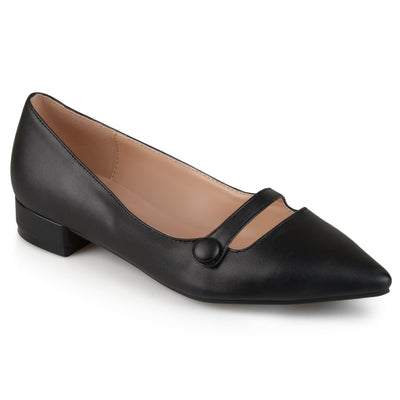 Brinley Co. Womens Pointed Toe Faux Leather Block Heel Flats