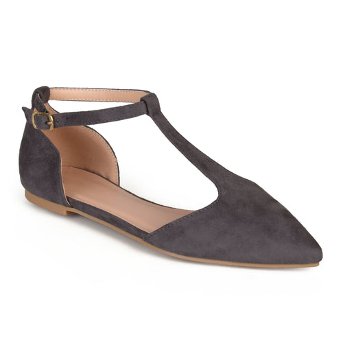 Brinley Co. Womens T-strap Pointed Toe Faux Suede Flats