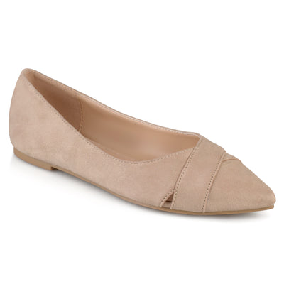 Brinley Co. Womens Pointed Toe Faux Suede Fashion Flats