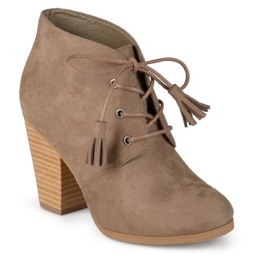 Brinley Co. Womens Chunky Heel Lace-up Faux Suede Ankle Booties