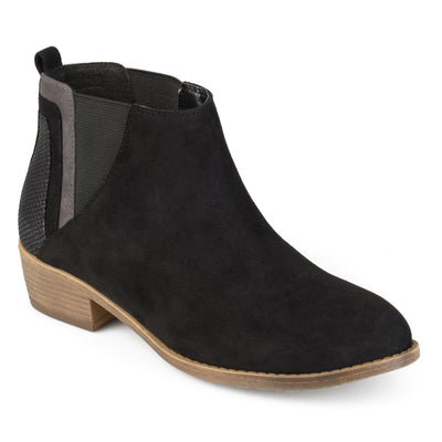 Brinley Co. Womens Faux Suede Ankle Faux Snake Heel Booties