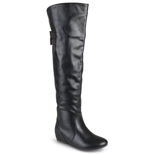 Brinley Co. Womens Wide Calf Buckle Detail Inside Pocket Faux Leather Boots