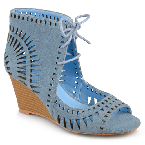 Brinley Co. Womens Faux Suede Laser Cut Lace-up Wedges