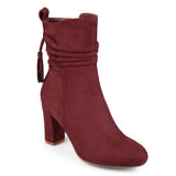 Brinley Co. Womens Faux Suede Wrap Strap Tasseled Booties