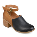 Brinley Co. Womens Faux Leather Stacked Heel Ankle Strap Clogs