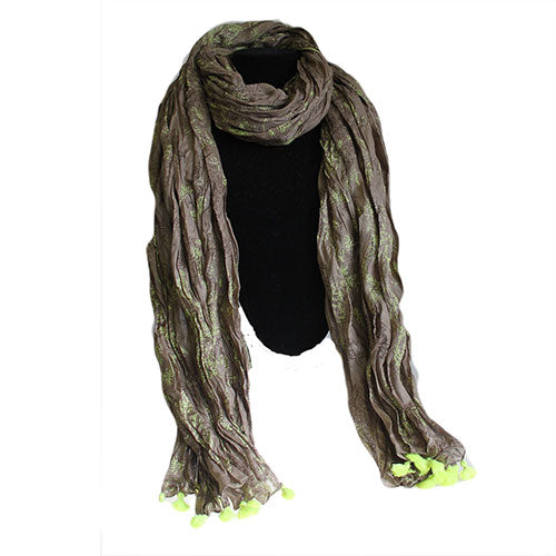 Antique Tasseled Scarf - Moss