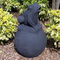 Frog on Ball in Black Statue/Fountain - 80cm