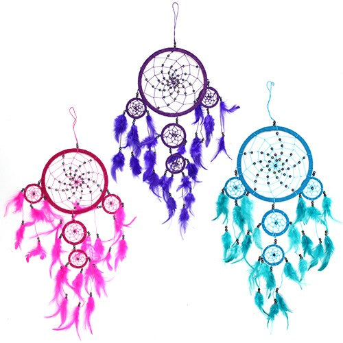 3x Bali Dreamcatchers - Large Round - Turq/Pink/Purp