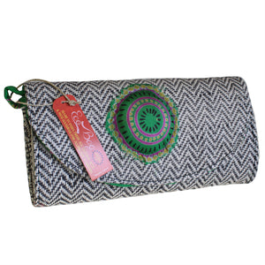 Green Silk & Black Jute Handbag